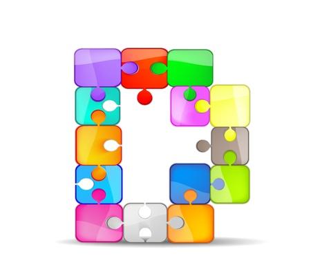 bambini: d lettera con il puzzle colorato