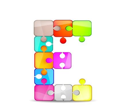 bambini: lettera e con il puzzle colorato