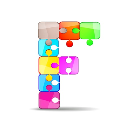 letter f with colorful puzzle Vector