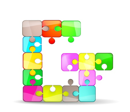 letter g with colorful puzzle Vector
