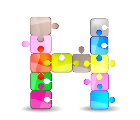 children acting: letter h with colorful puzzle Illustration