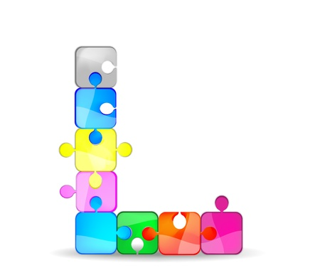 letter l with colorful puzzle Illustration