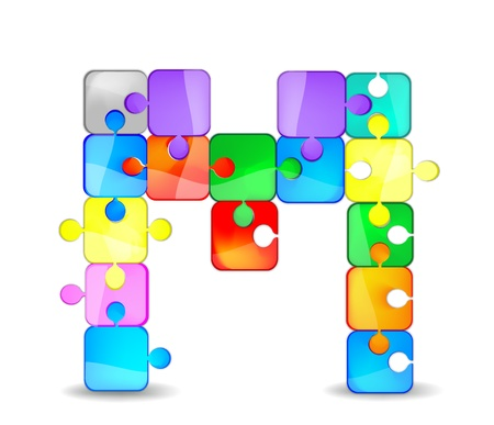 letter k with the colorful puzzle Vector