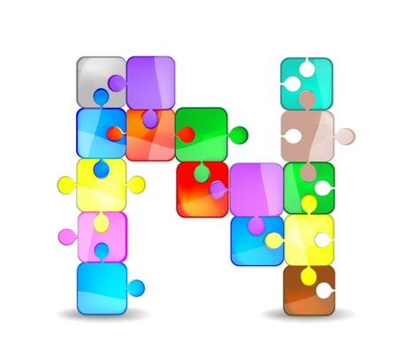 letter n with the colorful puzzle Vector