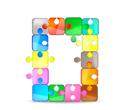 letter o with the colorful puzzle Vector