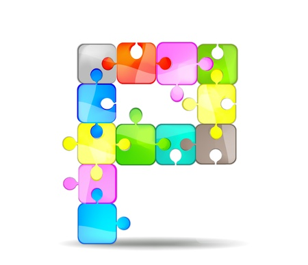 letter p with the colorful puzzle Vector