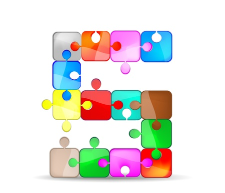 letter s with the colorful puzzle Vector