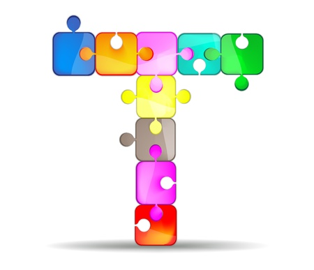 write letter: letter t with colorful puzzle