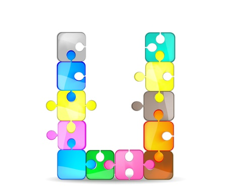 letter u with the colorful puzzle Vector