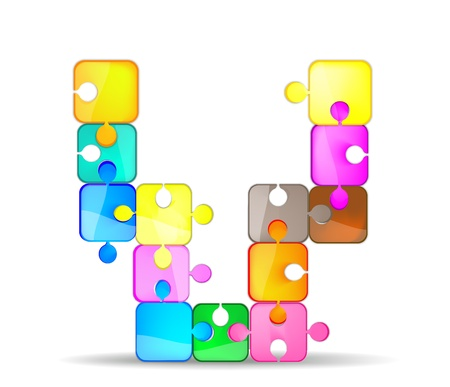 letter v with the colorful puzzle Illustration