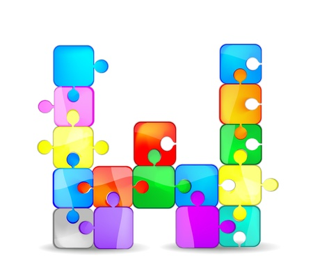 w letter with the colorful puzzle Vector