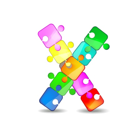 x games: letter x with the colorful puzzle