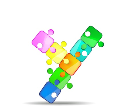 letter y with the colorful puzzle Vector