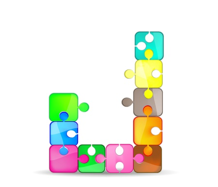 letter j with the colorful puzzle Vector