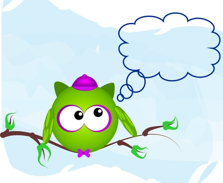 for example: owl on branch Illustration