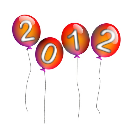 2012 background with balloons Stock Vector - 10878240