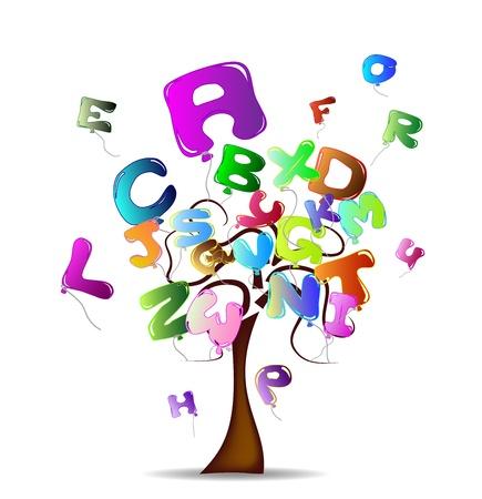 jasne drzewo balony formie listów Ilustracja