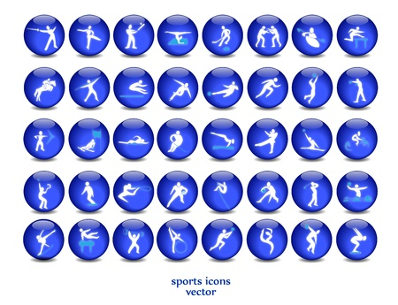 team sports: illuminated push buttons with icons of the sport Illustration