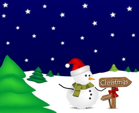 allegro: illustrazione con pupazzo di neve di Natale e segnaletica