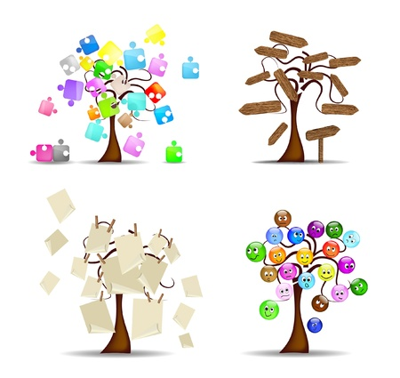 illustration for advertising: original set of trees, vector Illustration