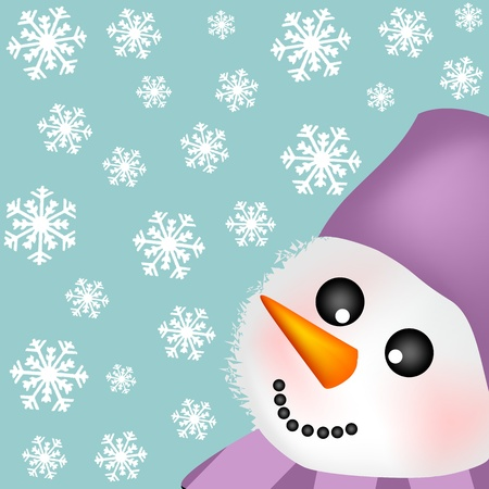 background with snowman Stock Vector - 11412776