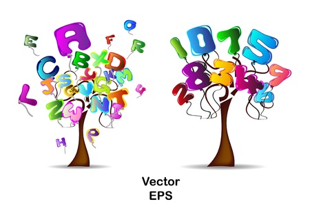 Trees with balloons in the shape of letters and numbers Vector