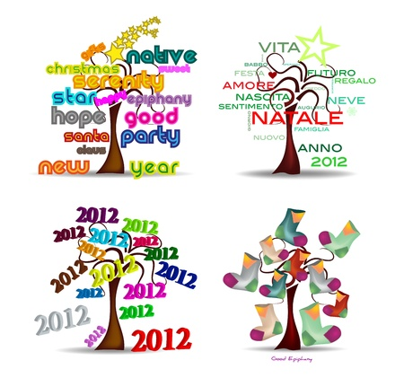 Set Holidays trees Vector