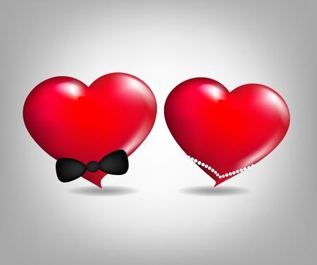 geloof hoop liefde: Paar harten, liefde Stock Illustratie
