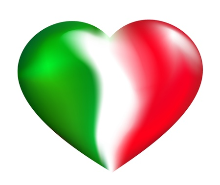bandera de italia: Coraz�n italiano Vectores
