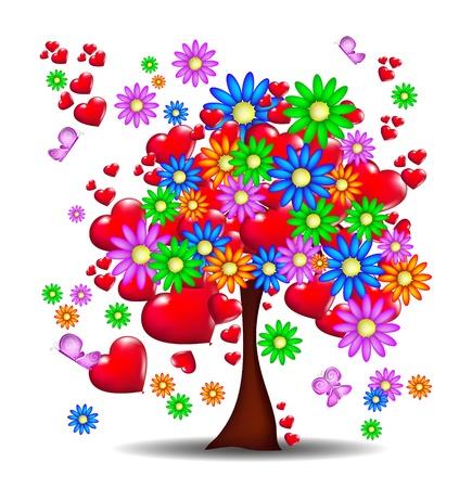 femme papillon: Floraison des fleurs et des sentiments