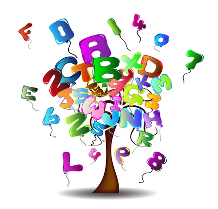 Tree with balloons in the shape of letters and numbers Vector