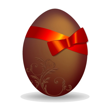 background with chocolate Easter egg decorated photo