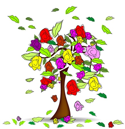 Tree with roses and hearts  Vector