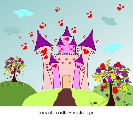 Castle of love with roses trees  Vector