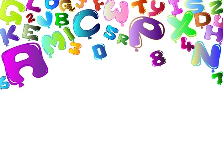 Background with balloons in the shape of letters and numbers Vector