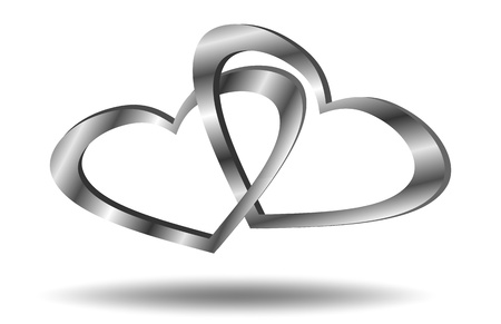 linked: Hearts linked  Illustration