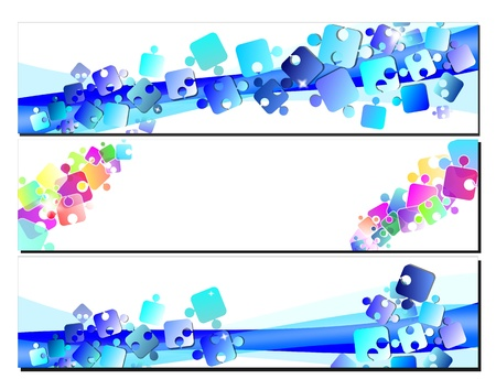 Set banners with puzzles Stock Photo - 12467501