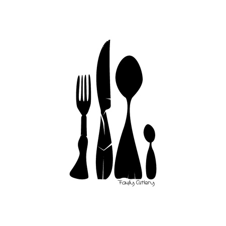 name plate: Family of Cutlery  Illustration