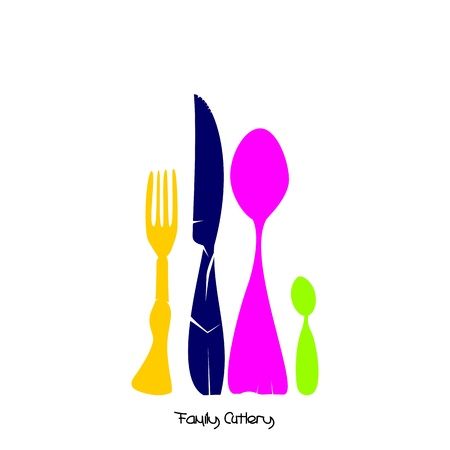 Family of Cutlery, color Stock Vector - 12854174