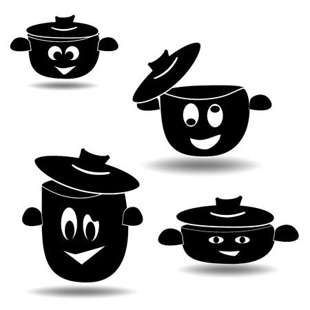 Nice set of cooking pots, Vector
