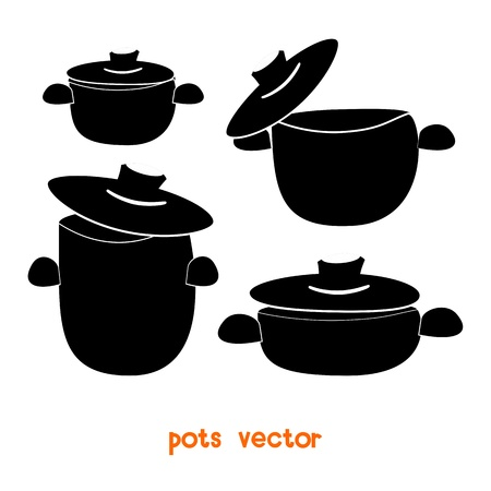 Set of cooking pots, Vector