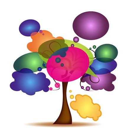 eg: Tree with colorful cartoon Illustration