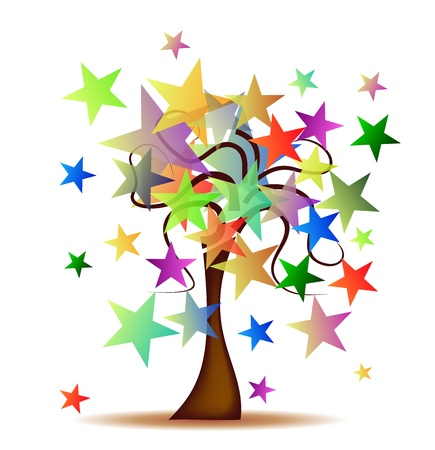 Drzewo z gwiazdami Ilustracja