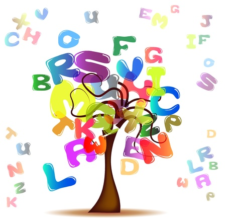 Tree with colored letters Vector