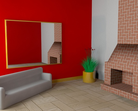 Room with fireplace and sofa photo