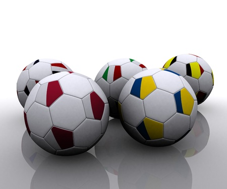 European soccer balls with flags  photo