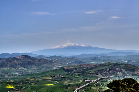Panorama of Enna, central Sicily Stock Photo - 13594650