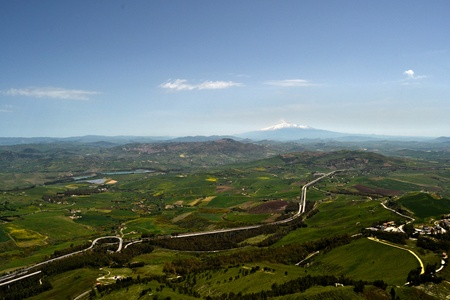 Panorama of Enna, central Sicily photo