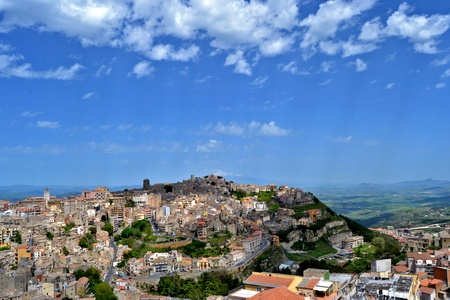 Panorama of the city of Enna, Sicily photo