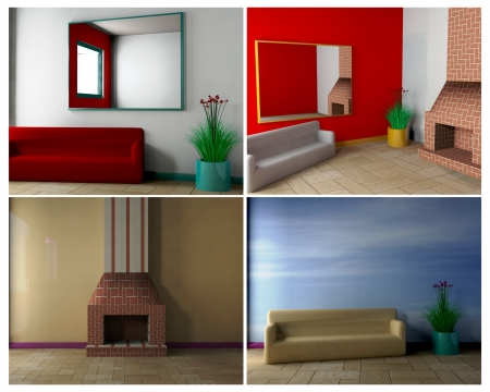 Interior Design - 3D Archivio Fotografico
